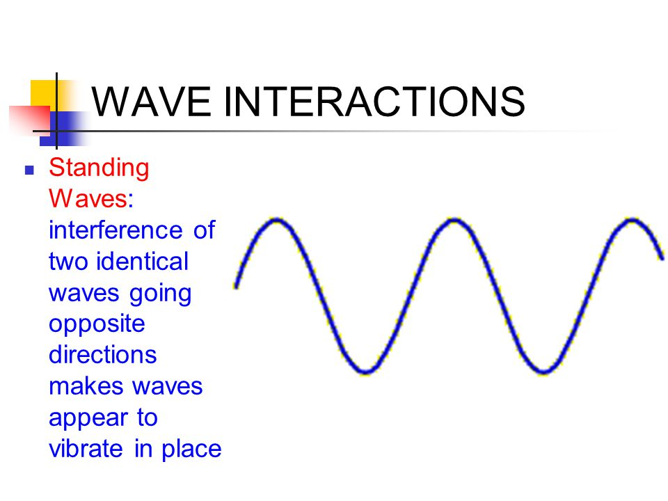 WAVE INTERACTIONS Standing Waves: interference of two identical waves going opposite directions makes waves appear to vibrate in place
