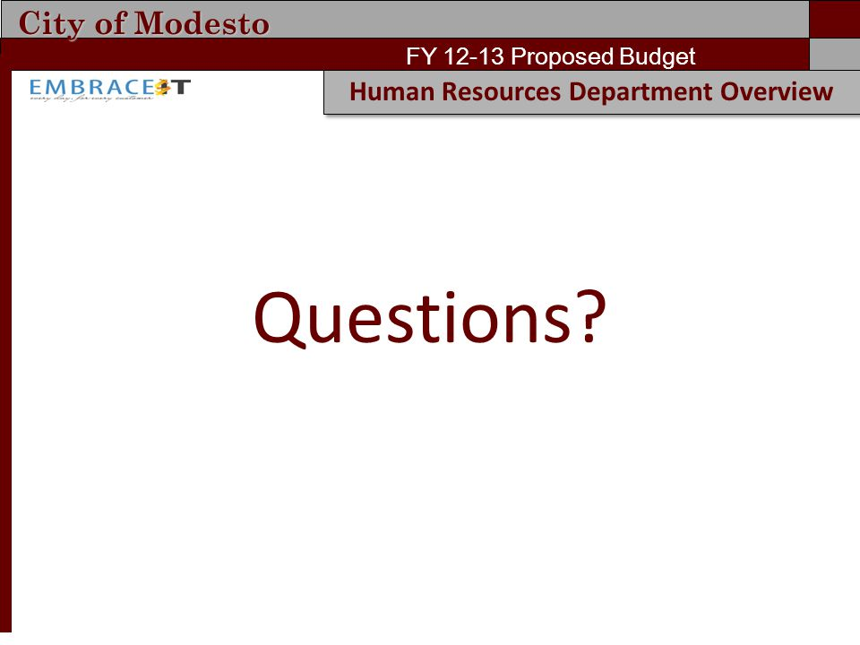 City of Modesto FY 12-13 Proposed Budget Human Resources Department Overview Questions?