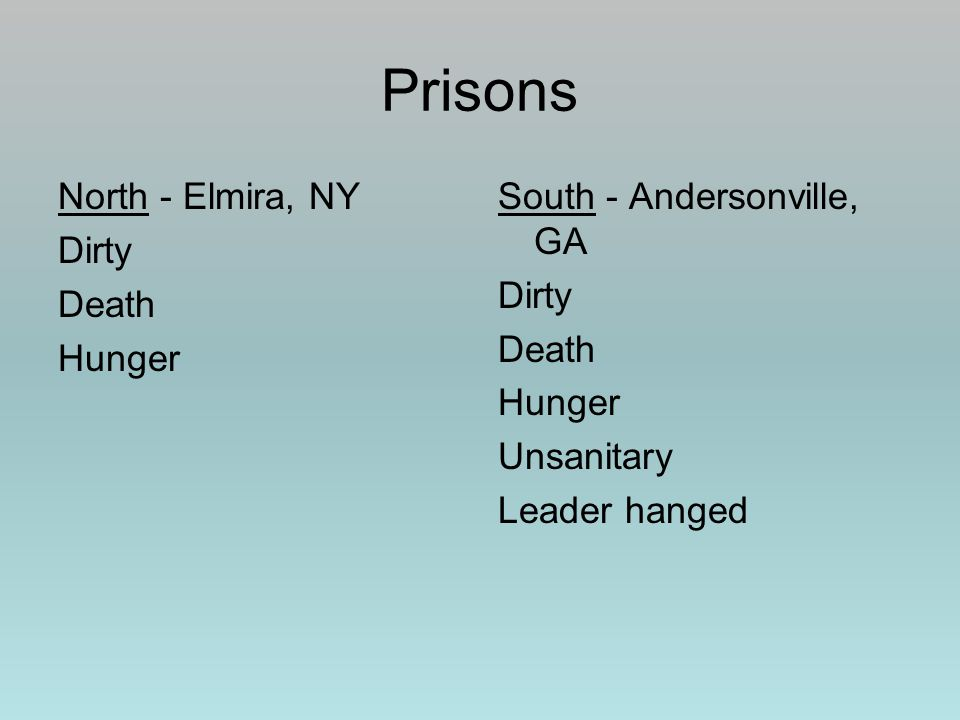 North - Elmira, NY Dirty Death Hunger South - Andersonville, GA Dirty Death Hunger Unsanitary Leader hanged