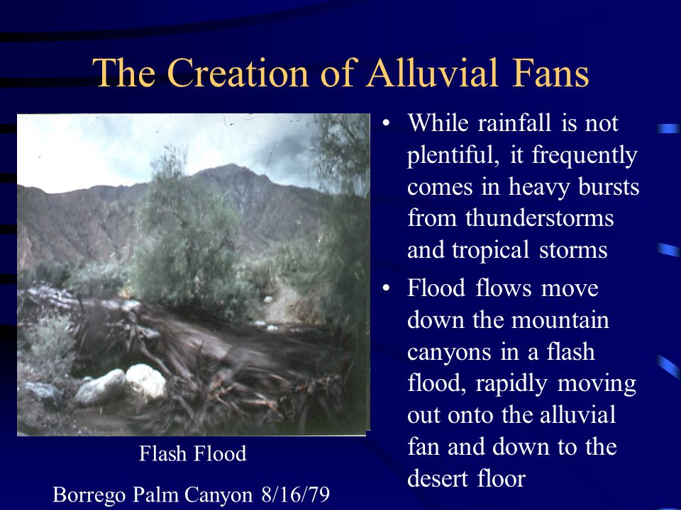 Desert Geology/Climate Very Dry - less than 6 rain per year Very little vegetation to prevent erosion Runoff from mtns transports debris to desert floor creating alluvial fans Flatness of alluvial fan makes ideal location for construction Carrizo Wash