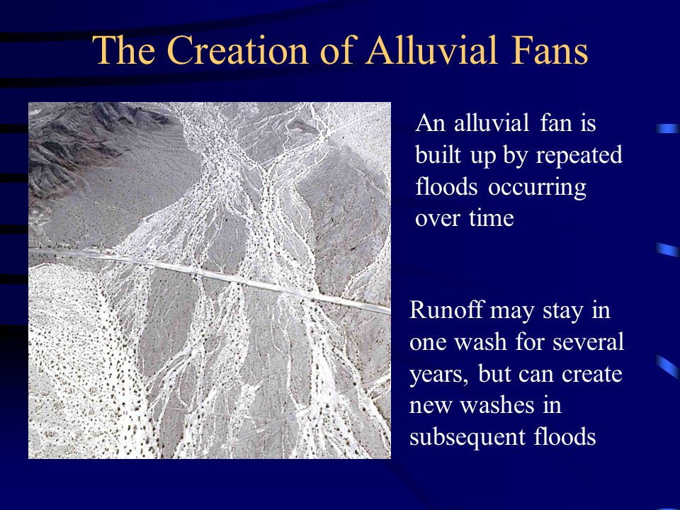 The Creation of Alluvial Fans While rainfall is not plentiful, it frequently comes in heavy bursts from thunderstorms and tropical storms Flood flows move down the mountain canyons in a flash flood, rapidly moving out onto the alluvial fan and down to the desert floor Flash Flood Borrego Palm Canyon 8/16/79