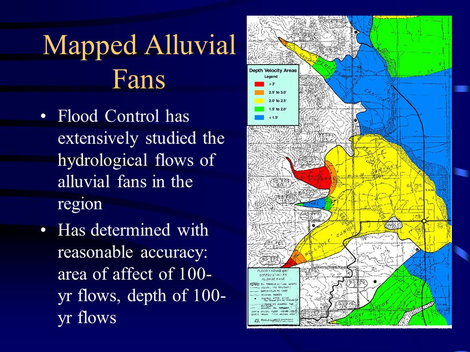 The Creation of Alluvial Fans An alluvial fan is built up by repeated floods occurring over time Runoff may stay in one wash for several years, but can create new washes in subsequent floods