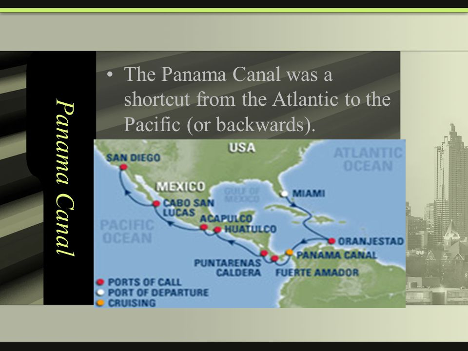 Panama Canal The Panama Canal was a shortcut from the Atlantic to the Pacific (or backwards).