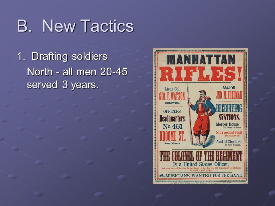 B. New Tactics 1. Drafting soldiers North - all men 20-45 served 3 years.