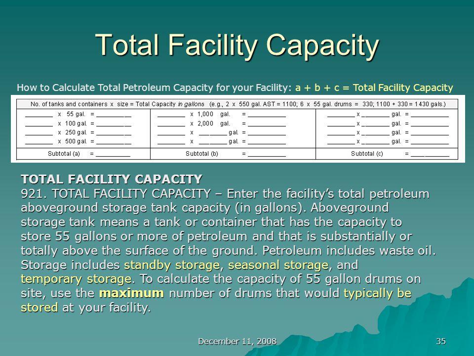December 11, 2008 35 Total Facility Capacity TOTAL FACILITY CAPACITY 921.