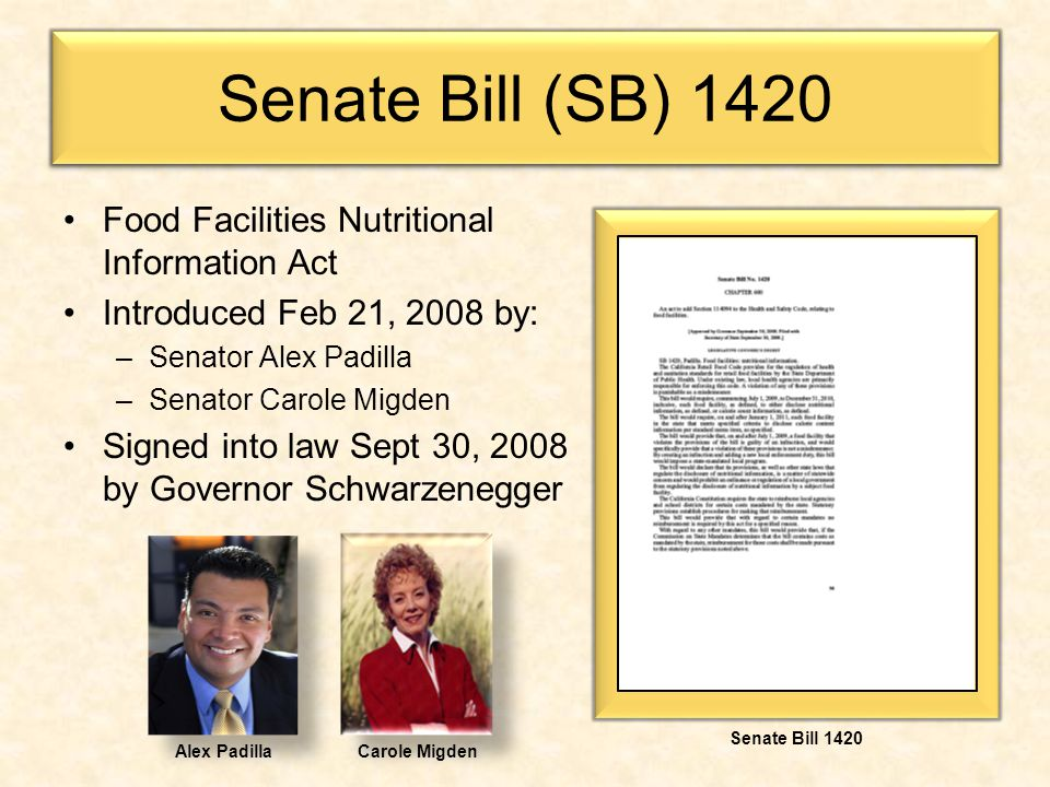 Senate Bill (SB) 1420 Food Facilities Nutritional Information Act Introduced Feb 21, 2008 by: –Senator Alex Padilla –Senator Carole Migden Signed into law Sept 30, 2008 by Governor Schwarzenegger Alex PadillaCarole Migden Senate Bill 1420