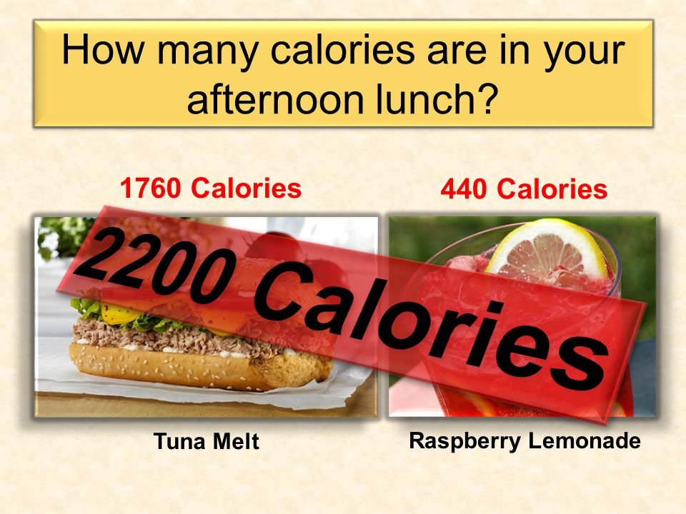 How many calories are in your afternoon lunch.