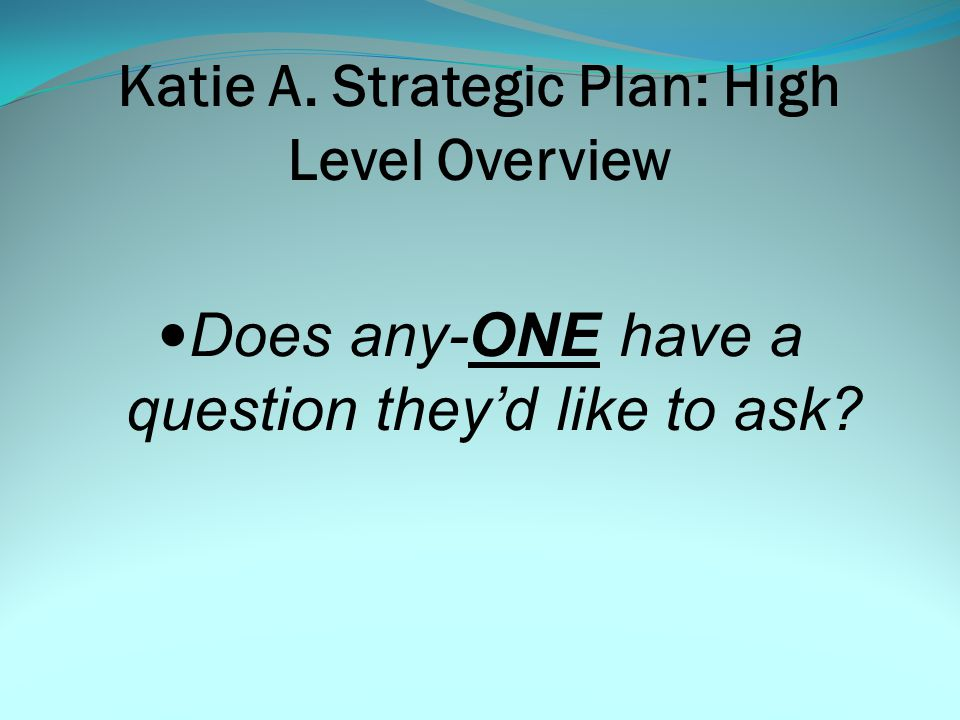 What are the Components of the Plan: Questions, Questions and more Questions… KATIE A.