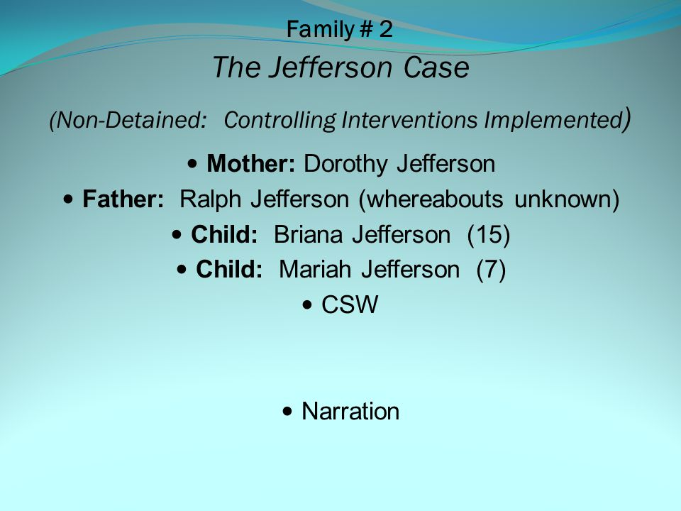 Family # 1: Washington-Jackson Case Key Steps/Key Points Act I Scene 1:Background/ Initial Assessment (SDM, Other) Act I: Scene 2: Team Decision Making and Mental Health Screening Key Points: TDM, HUB and MAT Referral, Consent/Eligibility, Referral Tracking System, CSAT Accessed Act I: Scene 3: Mental Health Assessment Key Points: MHST Completed (HUB), MAT Assessment/Summary of Findings, CSAT Accessed Act I: Scene 4:Mental Health Services Linkage Key Points: MAT Support for CSW and Service Linkage, CSAT Engaged