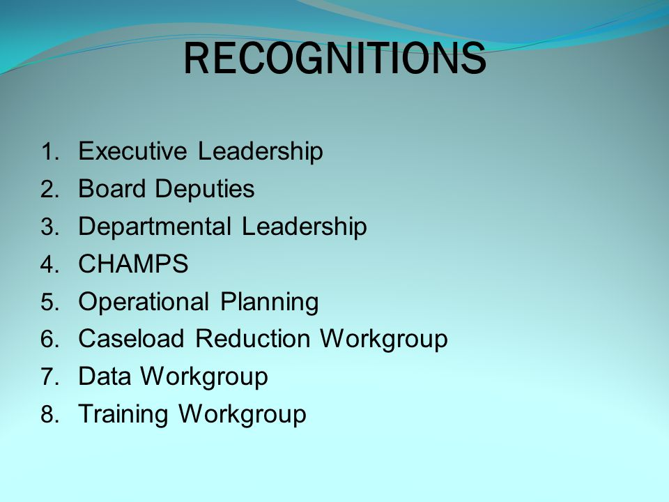 RECOGNITIONS 1.Executive Leadership 2. Board Deputies 3.