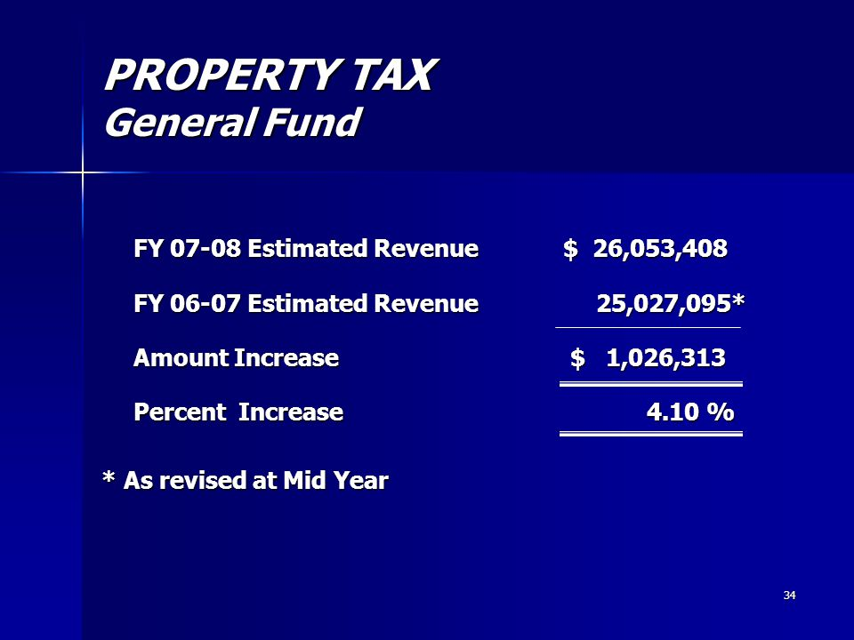 34 PROPERTY TAX General Fund FY 07-08 Estimated Revenue $ 26,053,408 FY 06-07 Estimated Revenue 25,027,095* Amount Increase $ 1,026,313 Percent Increase 4.10 % * As revised at Mid Year