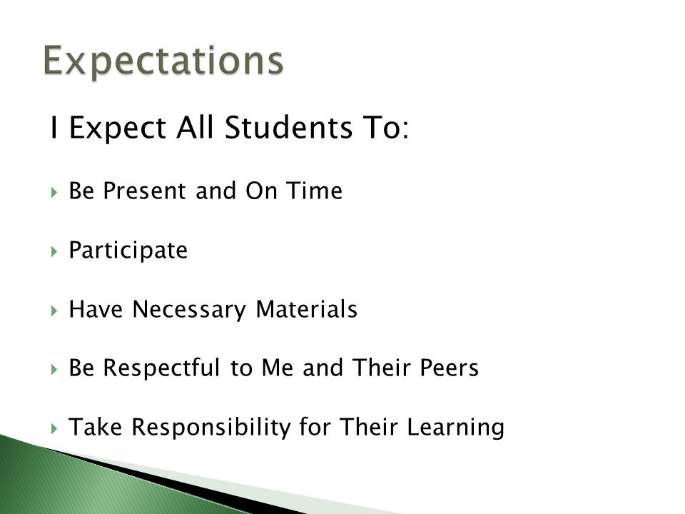 I Expect All Students To:  Be Present and On Time  Participate  Have Necessary Materials  Be Respectful to Me and Their Peers  Take Responsibility for Their Learning