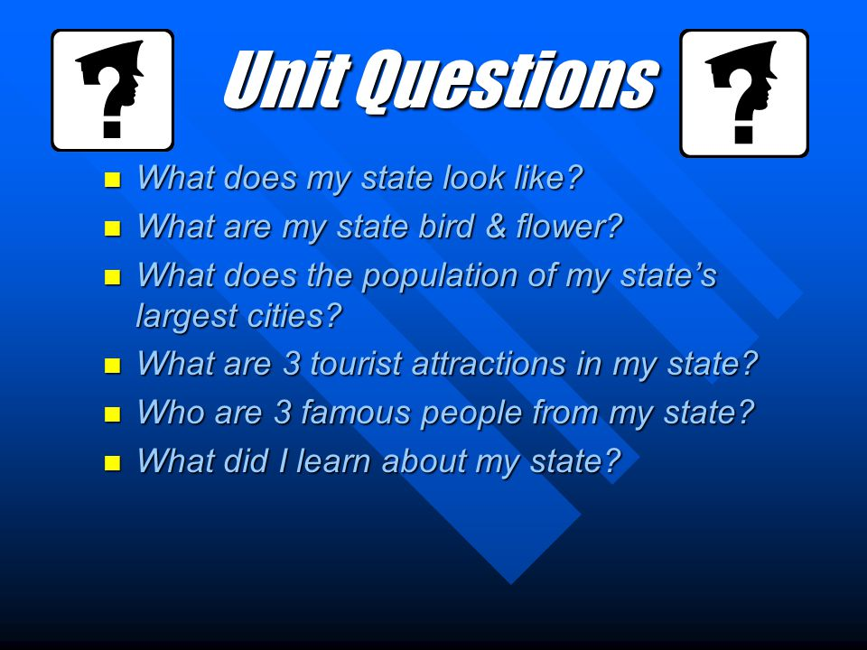 Unit Questions What does my state look like. What does my state look like.