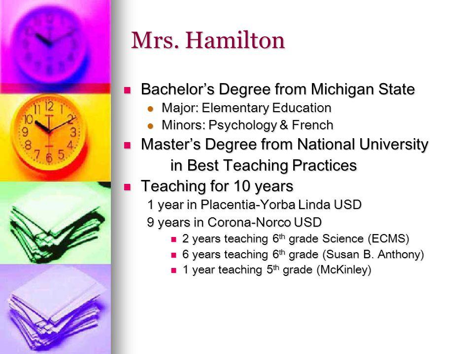 Mrs. Hamilton Bachelor's Degree from Michigan State Bachelor's Degree from Michigan State Major: Elementary Education Major: Elementary Education Mino