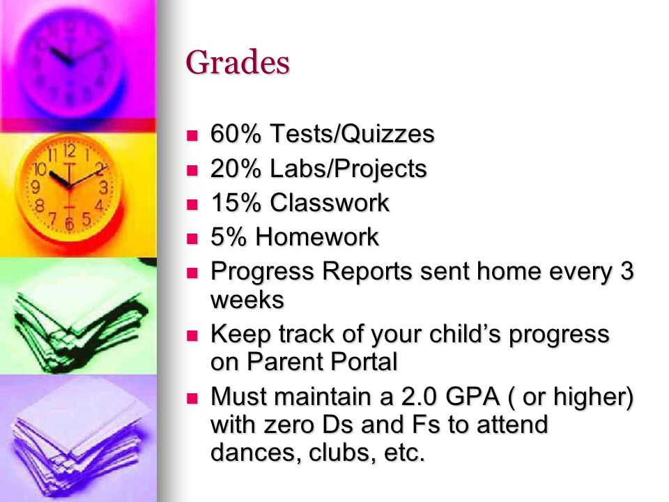 Grades 60% Tests/Quizzes 60% Tests/Quizzes 20% Labs/Projects 20% Labs/Projects 15% Classwork 15% Classwork 5% Homework 5% Homework Progress Reports sent home every 3 weeks Progress Reports sent home every 3 weeks Keep track of your child's progress on Parent Portal Keep track of your child's progress on Parent Portal Must maintain a 2.0 GPA ( or higher) with zero Ds and Fs to attend dances, clubs, etc.