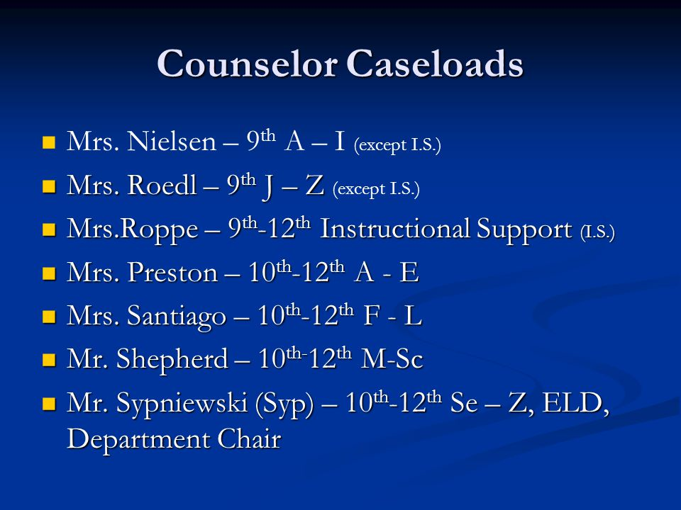 Counseling Staff Mrs.Amador – Counseling Clerk Mrs.