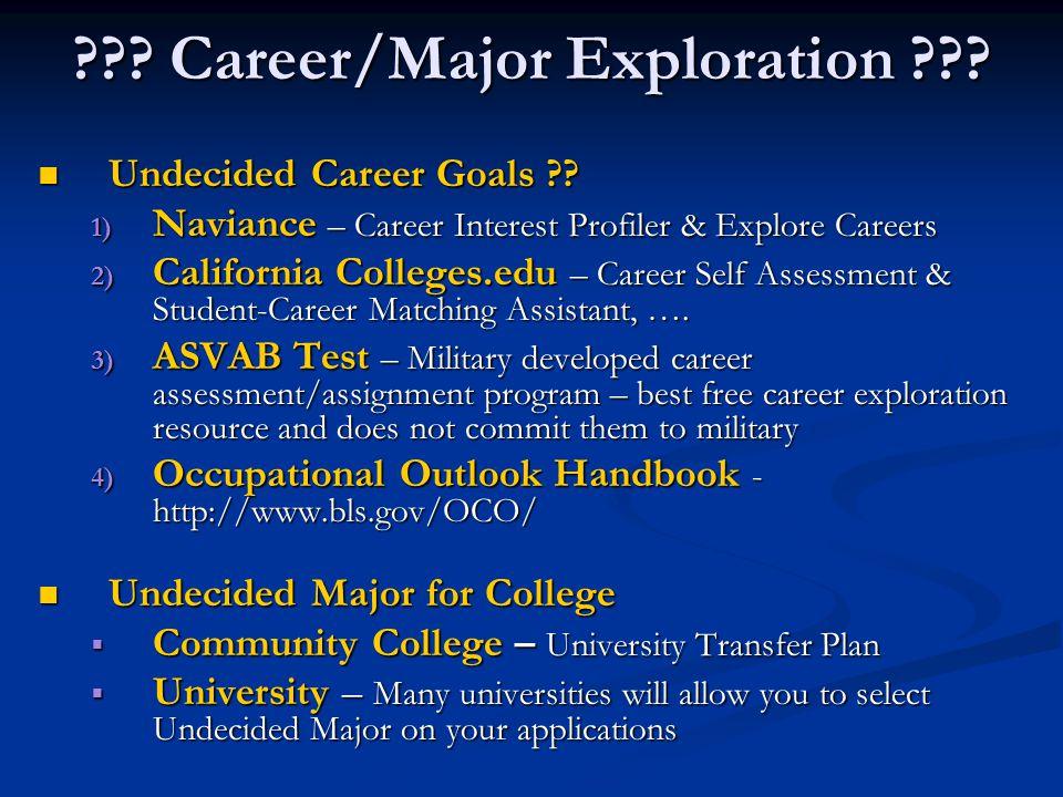 ??? Career/Major Exploration ??? Undecided Career Goals ?? Undecided Career Goals ?? 1) Naviance – Career Interest Profiler & Explore Careers 2) Calif