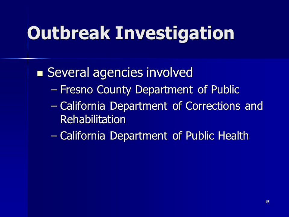 15 Outbreak Investigation Several agencies involved Several agencies involved –Fresno County Department of Public –California Department of Corrections and Rehabilitation –California Department of Public Health