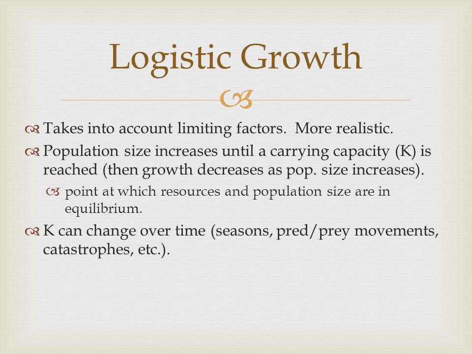  Logistic Growth Equation dN dt  (K  N) K r max N