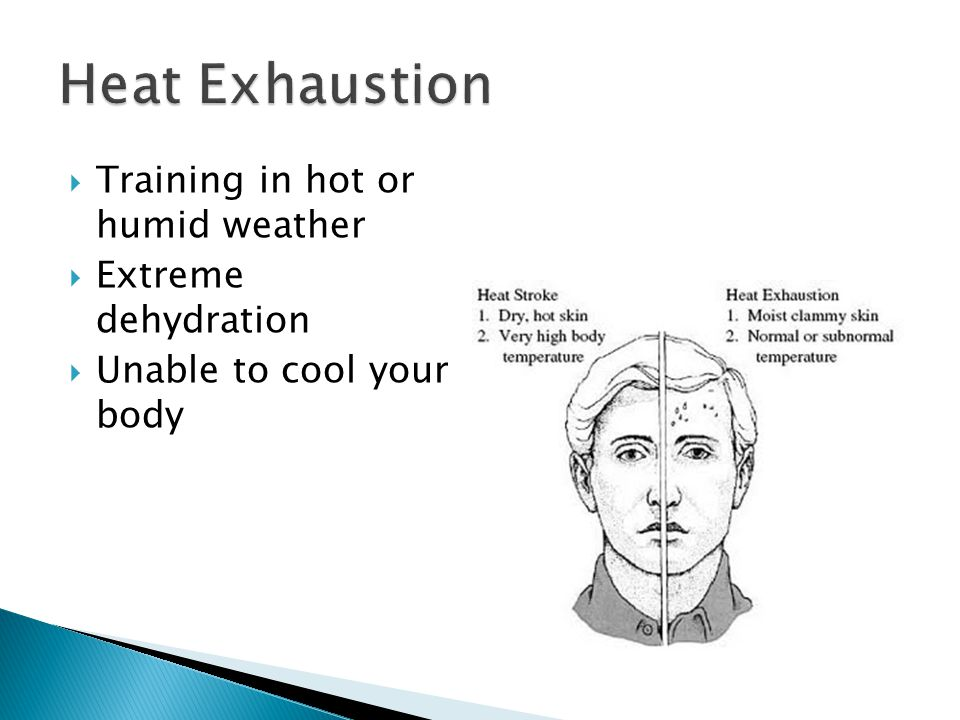  Training in hot or humid weather  Extreme dehydration  Unable to cool your body