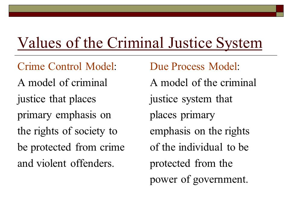 Values of the Criminal Justice System Crime Control Model: A model of criminal justice that places primary emphasis on the rights of society to be pro