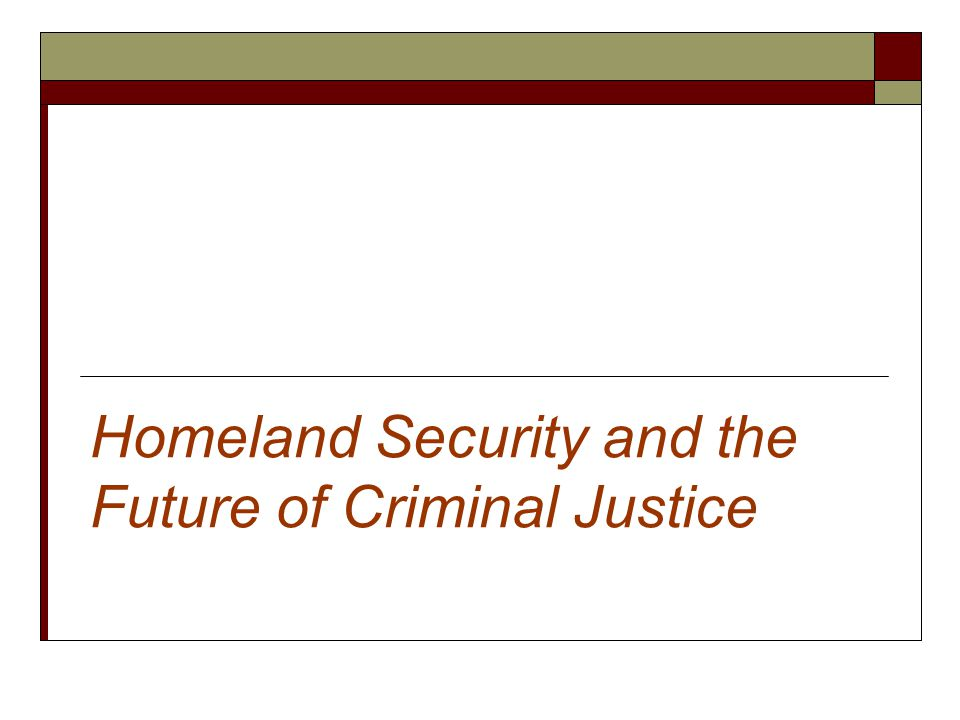 Homeland Security and the Future of Criminal Justice