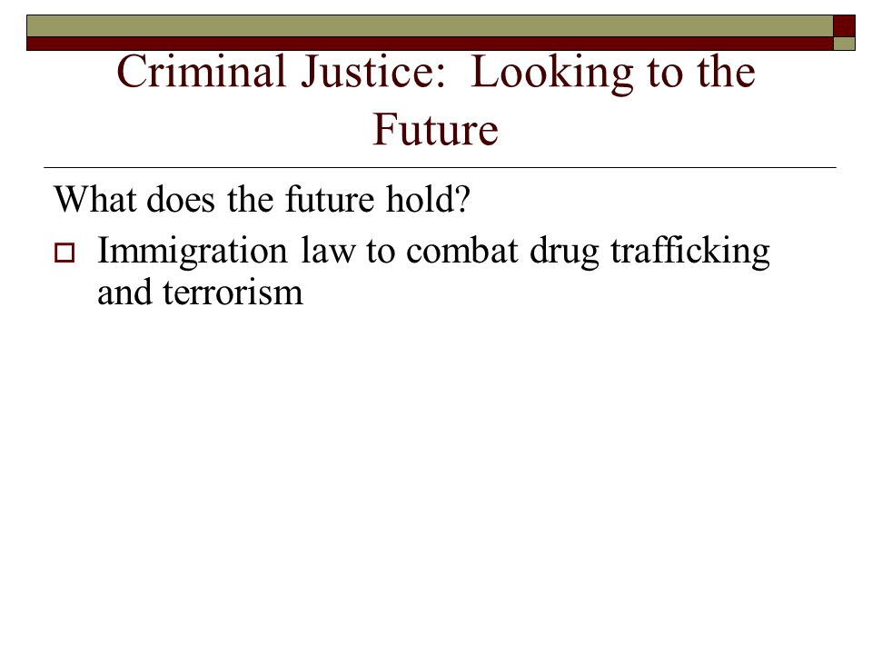 Criminal Justice: Looking to the Future What does the future hold.
