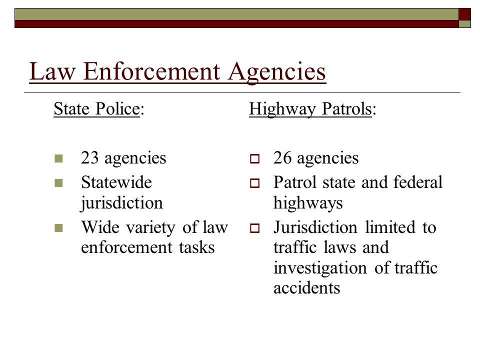 Law Enforcement Agencies State Police: 23 agencies Statewide jurisdiction Wide variety of law enforcement tasks Highway Patrols:  26 agencies  Patrol state and federal highways  Jurisdiction limited to traffic laws and investigation of traffic accidents