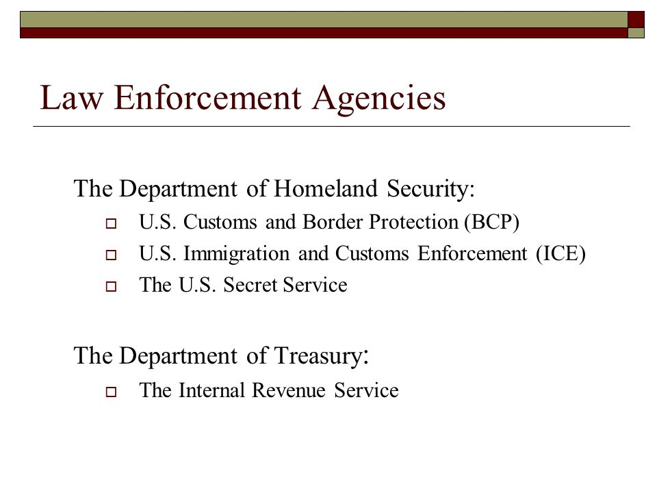 Law Enforcement Agencies The Department of Homeland Security:  U.S.