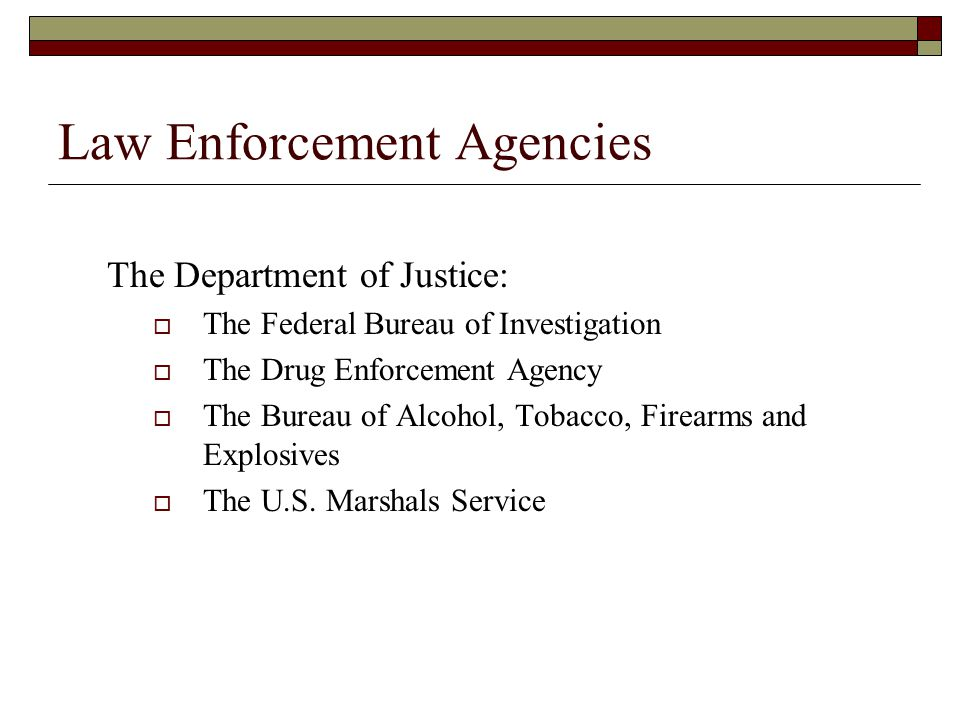 Law Enforcement Agencies The Department of Justice:  The Federal Bureau of Investigation  The Drug Enforcement Agency  The Bureau of Alcohol, Tobacco, Firearms and Explosives  The U.S.