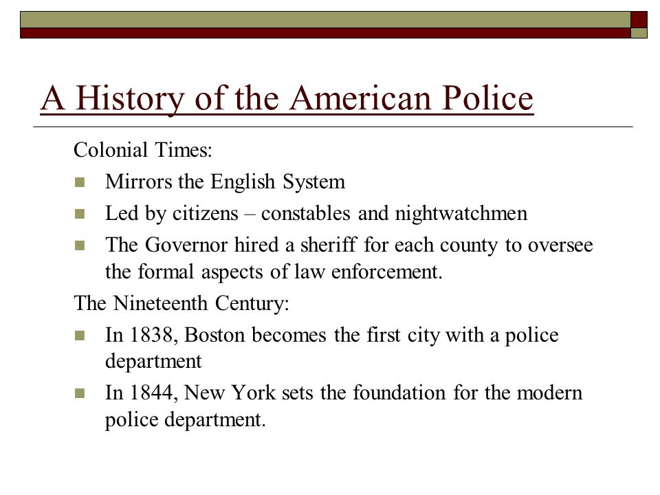 The Political Era of policing : 1840-1930 Called the patronage system or the spoils system Bribery and political corruption are the hallmark of the era A History of the American Police