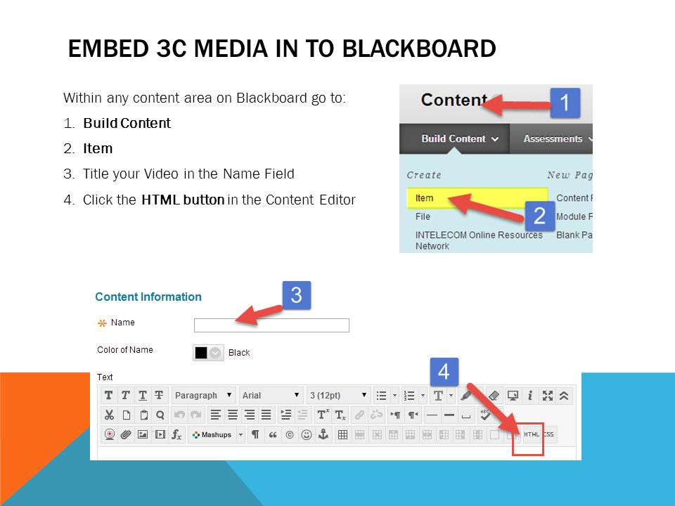 EMBED 3C MEDIA IN TO BLACKBOARD (CONTINUE) 5.Paste the Embed code from 3C Media in the HTML Window 6.Click Update 7.Click Submit.