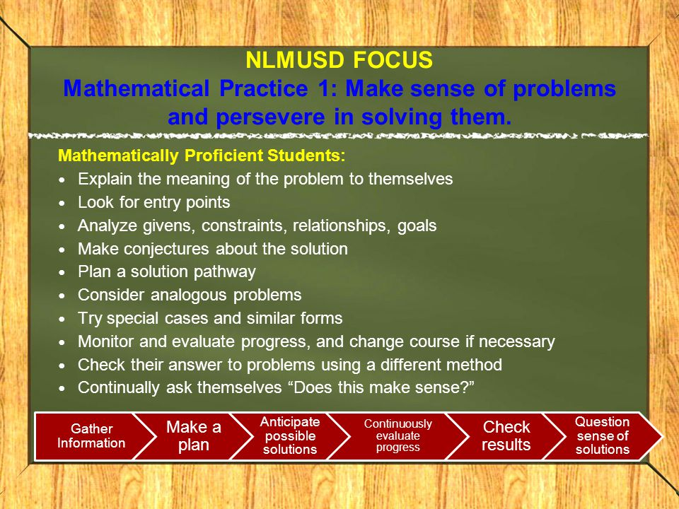 NLMUSD FOCUS Mathematical Practice 1: Make sense of problems and persevere in solving them.