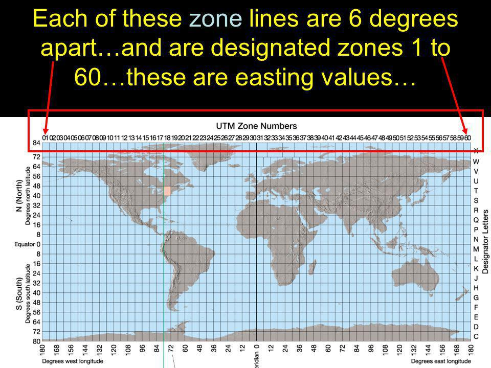 Each of these zone lines are 6 degrees apart…and are designated zones 1 to 60…these are easting values…