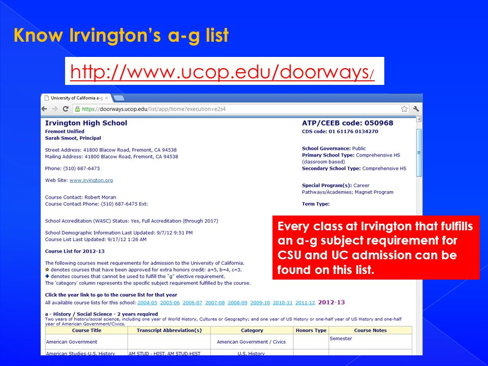 Know Irvington's a-g list http://www.ucop.edu/doorways / Every class at Irvington that fulfills an a-g subject requirement for CSU and UC admission can be found on this list.