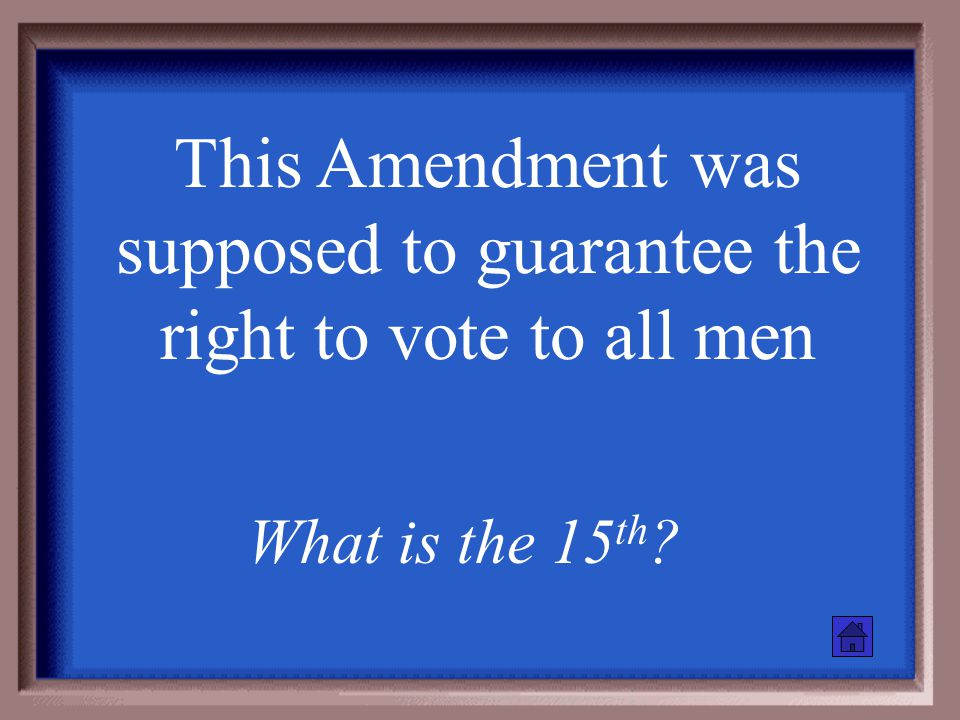 This Amendment gave citizenship to blacks and provided equal protection What is the 14 th ?