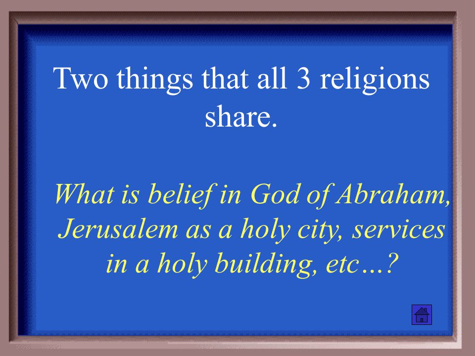 Place of worship for each of the 3 religions. What is a Church, Synagogue, and Mosque?