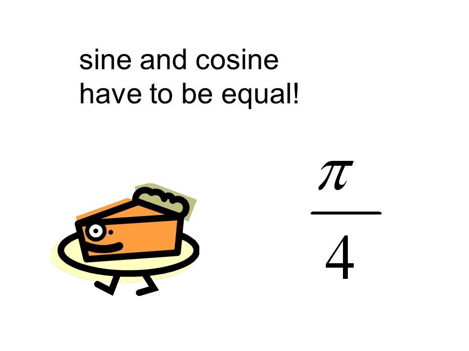 sine and cosine have to be equal!