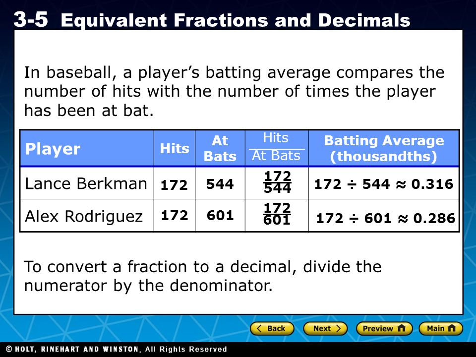 Holt CA Course 1 3-5 Equivalent Fractions and Decimals In baseball, a player's batting average compares the number of hits with the number of times th