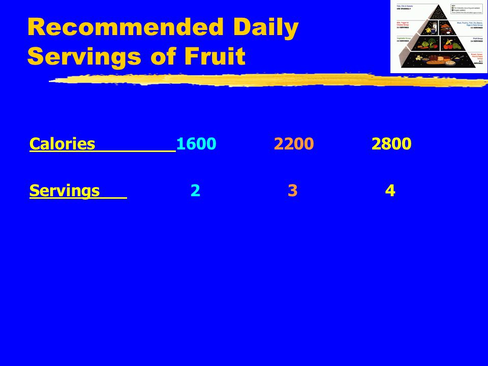 Recommended Daily Servings of Fruit Calories160022002800 Servings 2 3 4