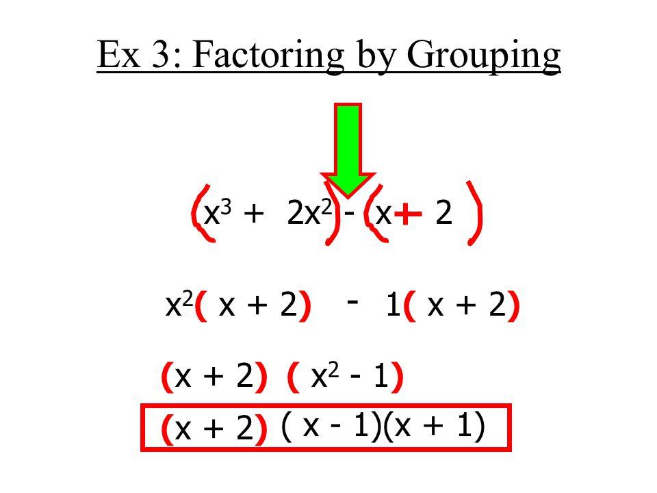 Ex 3: Factoring by Grouping x 3 + 2x 2 - x - 2 x 2 ( x + 2) - 1( x + 2) (x + 2)( x 2 - 1) (x + 2) ( x - 1)(x + 1)