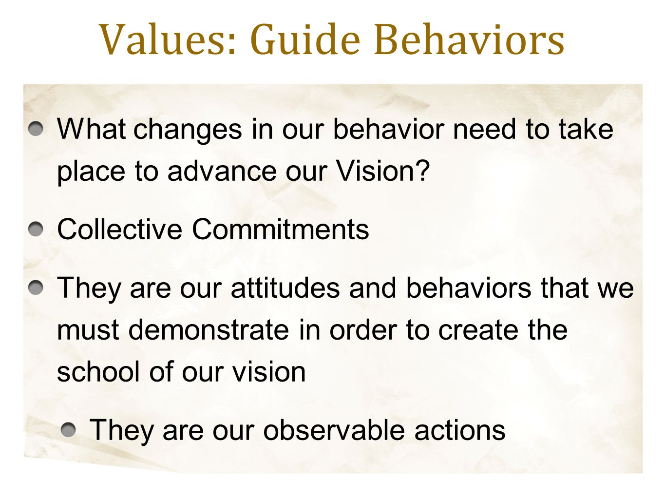 What changes in our behavior need to take place to advance our Vision? Collective Commitments They are our attitudes and behaviors that we must demons