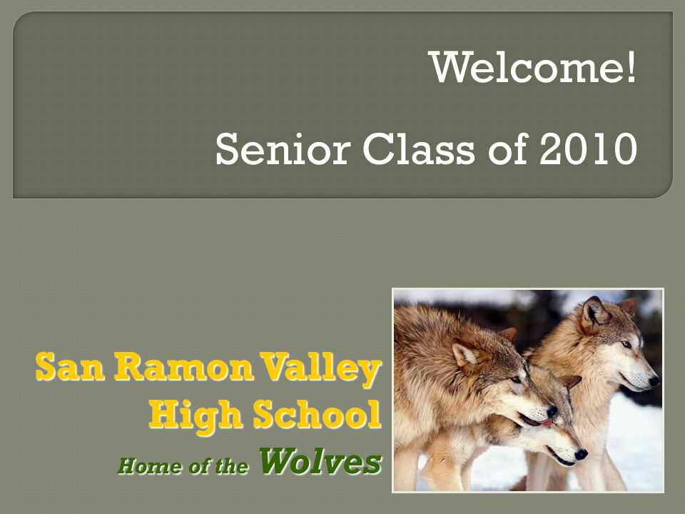 San Ramon Valley High School Home of the Wolves Home of the Wolves Welcome! Senior Class of 2010