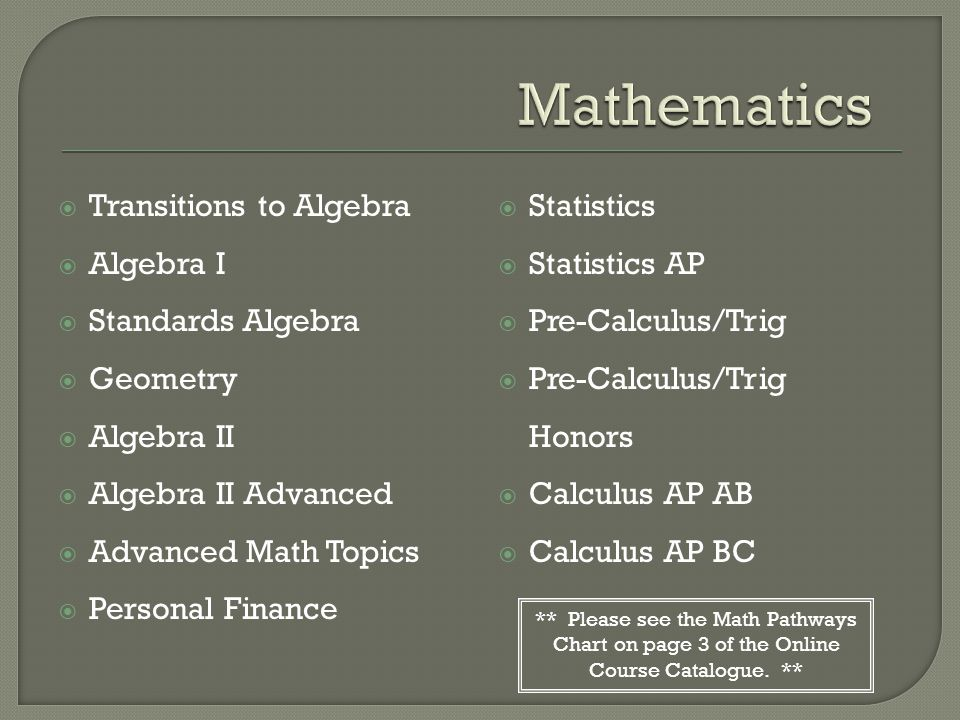  Transitions to Algebra  Algebra I  Standards Algebra  Geometry  Algebra II  Algebra II Advanced  Advanced Math Topics  Personal Finance  Statistics  Statistics AP  Pre-Calculus/Trig  Pre-Calculus/Trig Honors  Calculus AP AB  Calculus AP BC ** Please see the Math Pathways Chart on page 3 of the Online Course Catalogue.