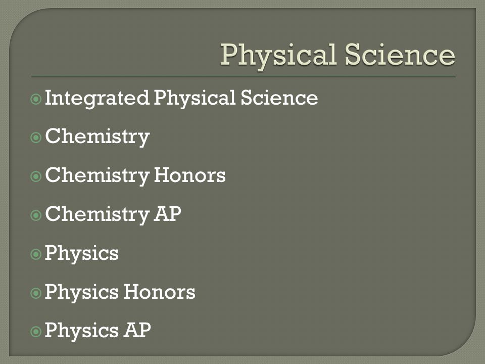  Integrated Physical Science  Chemistry  Chemistry Honors  Chemistry AP  Physics  Physics Honors  Physics AP