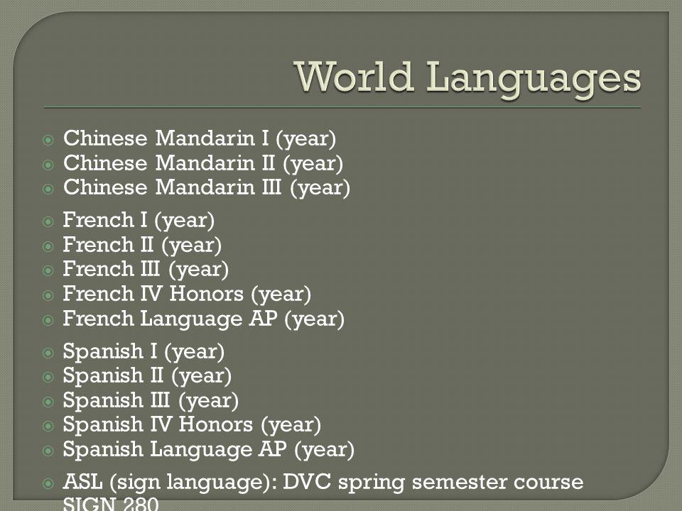  Chinese Mandarin I (year)  Chinese Mandarin II (year)  Chinese Mandarin III (year)  French I (year)  French II (year)  French III (year)  French IV Honors (year)  French Language AP (year)  Spanish I (year)  Spanish II (year)  Spanish III (year)  Spanish IV Honors (year)  Spanish Language AP (year)  ASL (sign language): DVC spring semester course SIGN 280