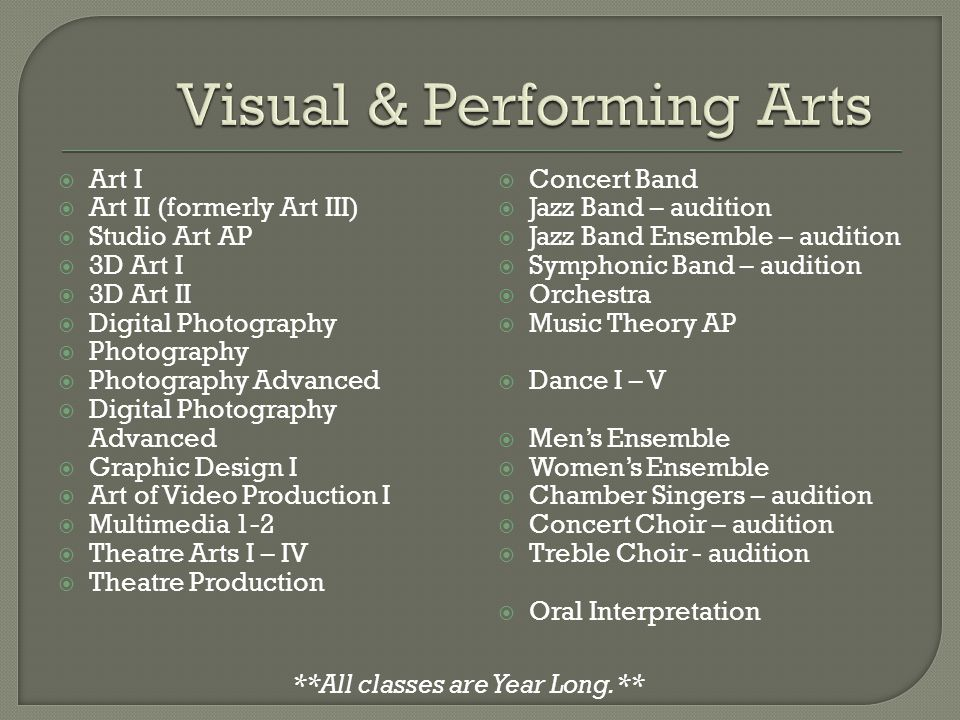  Art I  Art II (formerly Art III)  Studio Art AP  3D Art I  3D Art II  Digital Photography  Photography  Photography Advanced  Digital Photography Advanced  Graphic Design I  Art of Video Production I  Multimedia 1-2  Theatre Arts I – IV  Theatre Production  Concert Band  Jazz Band – audition  Jazz Band Ensemble – audition  Symphonic Band – audition  Orchestra  Music Theory AP  Dance I – V  Men's Ensemble  Women's Ensemble  Chamber Singers – audition  Concert Choir – audition  Treble Choir - audition  Oral Interpretation **All classes are Year Long.**