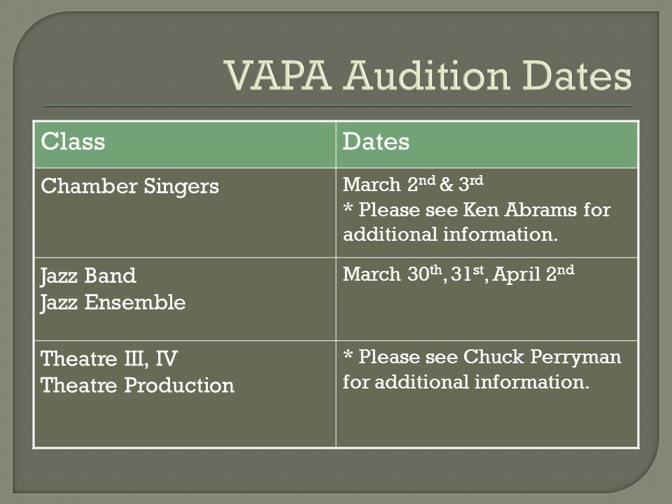 VAPA Audition Dates ClassDates Chamber Singers March 2 nd & 3 rd * Please see Ken Abrams for additional information.