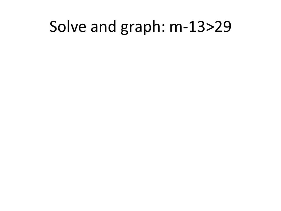 Solve and graph: m-13>29