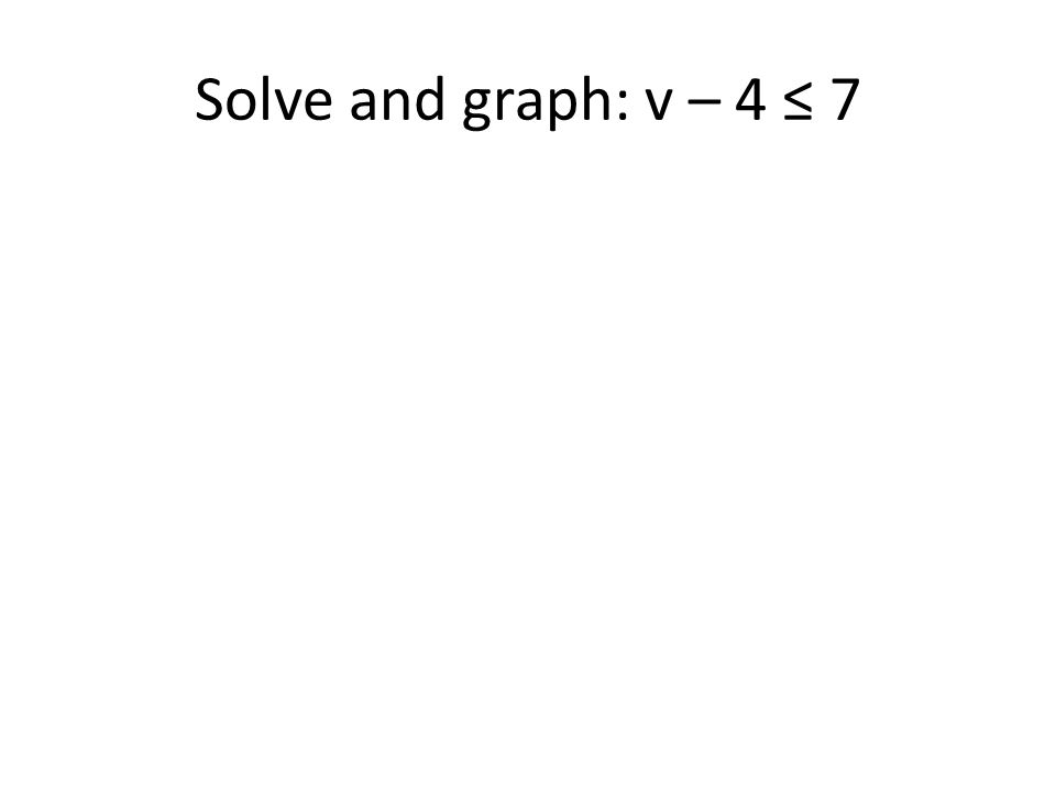 Solve and graph: v – 4 ≤ 7